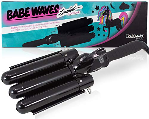 Babe Waves Limited Edition Hair Curling Wand   Triple Barrel Waving Iron   Trademark Beauty Dual Voltage Hair Waver with 28mm Barrels