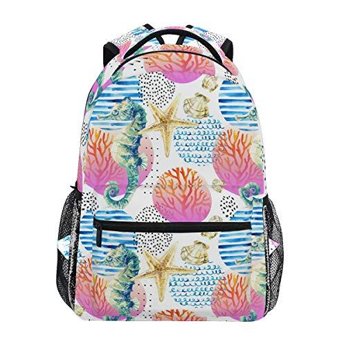 DXG1 Seahorse Corail Reef Sac à Dos Femmes Hommes Adolescent Fille Garçon Sac à Main Bookbag Casual Daypack Fournitures