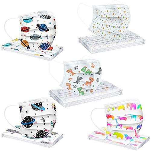 Deinaty 50 Pcs Children's Printed Planet, Fabric Disposable 3 Layers