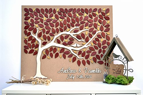Preisvergleich Produktbild Mari57llis 3D Custom Alternative Wedding Guest Book Love Tree Customizable Unique Guestbook Burgundy Leaves Gold Wedding Rustic Wooden Tree of Life Personalized Wedding Decor