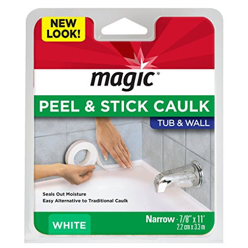 Magic Tub and Wall Peel and Caulk Strip - Create a Tight Seal Between the Bathtub and Wall to Keep Moisture Out - 7/8 Inch by 11 Feet - White