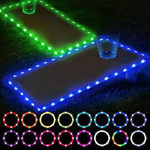 Letigo 2 Set Cornhole Lights, 16 Colors Change Cornhole Board Edge and Ring LED Lights with Remote Control for Family Backyard Bean Bag Toss Cornhole Game at Night