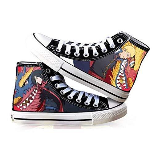JPTYJ Uzumaki Naruto Uchiha Sasuke/Kakashi Zapatos Altos Unisex Zapatos Casuales de Anime Zapatos de Lona para Estudiantes Zapatillas de Deporte de la Escuela Secundaria B-41