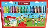 Feutre de coloriage - STABILO Trio A-Z - Étui carton x 30 feutres pointe moyenne - dont 5 couleurs fluo