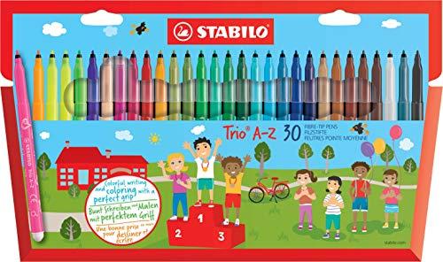 STABILO Trio A-Z/378/1-30-01 Viltstift – 30 stuks – met 30 verschillende kleuren