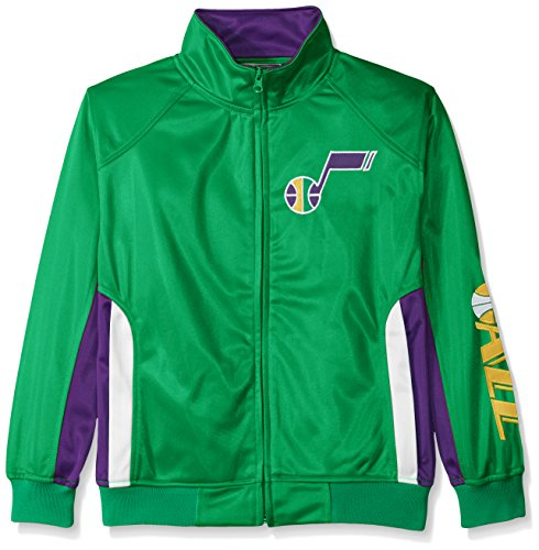 NBA Utah Jazz Tricot Track Jacket with Logo WordMark, Medium, Kelly Green