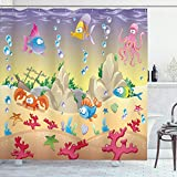 Ambesonne Underwater Shower Curtain, Kids Cartoon Design Funny Sea Animals Fishes Sunken Ship Coral Reef and Bubbles, Cloth Fabric Bathroom Decor Set with Hooks, 70' Long, Purple Beige