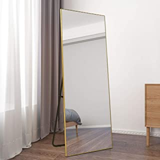 """BOLEN Dressing Mirror Full Length Mirror Standing Hanging or Leaning Against Wall Mirror Aluminum Alloy Frame Mirror 65""""x22"""" (Gold)"""