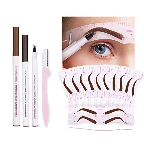 Eyebrow Stencil Kit - 3 Color Eyebrow Pen,12Pcs Eyebrow Stencils with Strap, 1 Eyebrow Razor, Draws Natural Eyebrow, Waterproof & Lasting Eyebrow Makeup
