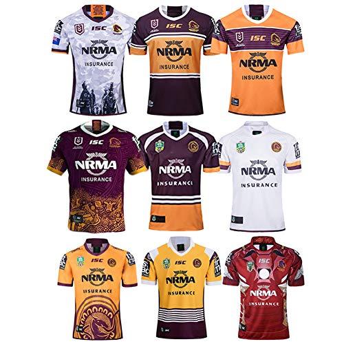JUNBABY 2019 Broncos Brisbane Rugby-Trikot, 2018 Wild Horse Gedenk-Rugby-T-Shirt, Telstra Premiership-Shirt-Dark Brown-XXXL
