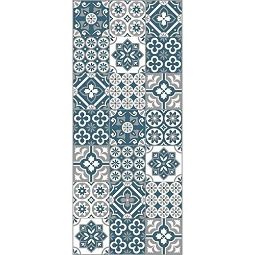Générique AMADORA Tapis 100% Vinyle - Imitation Carreau de Ciment - 49,5x112,5 cm - Epaisseur 1,5 mm - Bleu, Blanc et Gris
