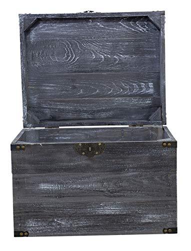 Vintage Möbel 24 GmbH 1x Traumhaft rustikale Holztruhe (45 x 35 x 35 cm, Shabby Schwarz) - 2