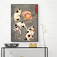 19世紀の異なるポーズの4匹の猫、歌川邦義プリント、日本美術、猫アート、ギフトアイデア、ウォールアートポスタープリントポスターフレームなし50x70cm