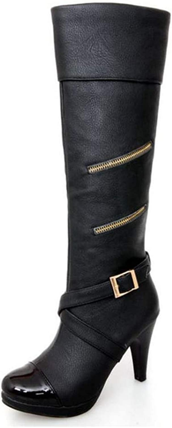 Webb Perkin Women Winter Warm Metal Buckle Female Fashion Sexy shoes Lady Knee-high Boots Mixed color High Heel