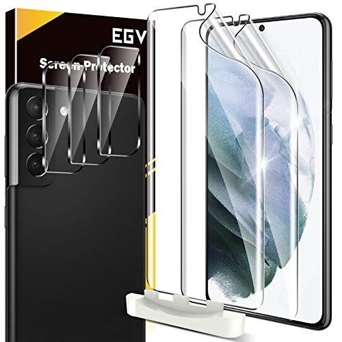 EGV Schutzfolie Kompatibel mit Samsung Galaxy S21, 2 TPU Folie & 3 Kamera Schutzfolie, mit 1 Stück Null Fehler Positionierhilfe, Klar HD Weich TPU Folie