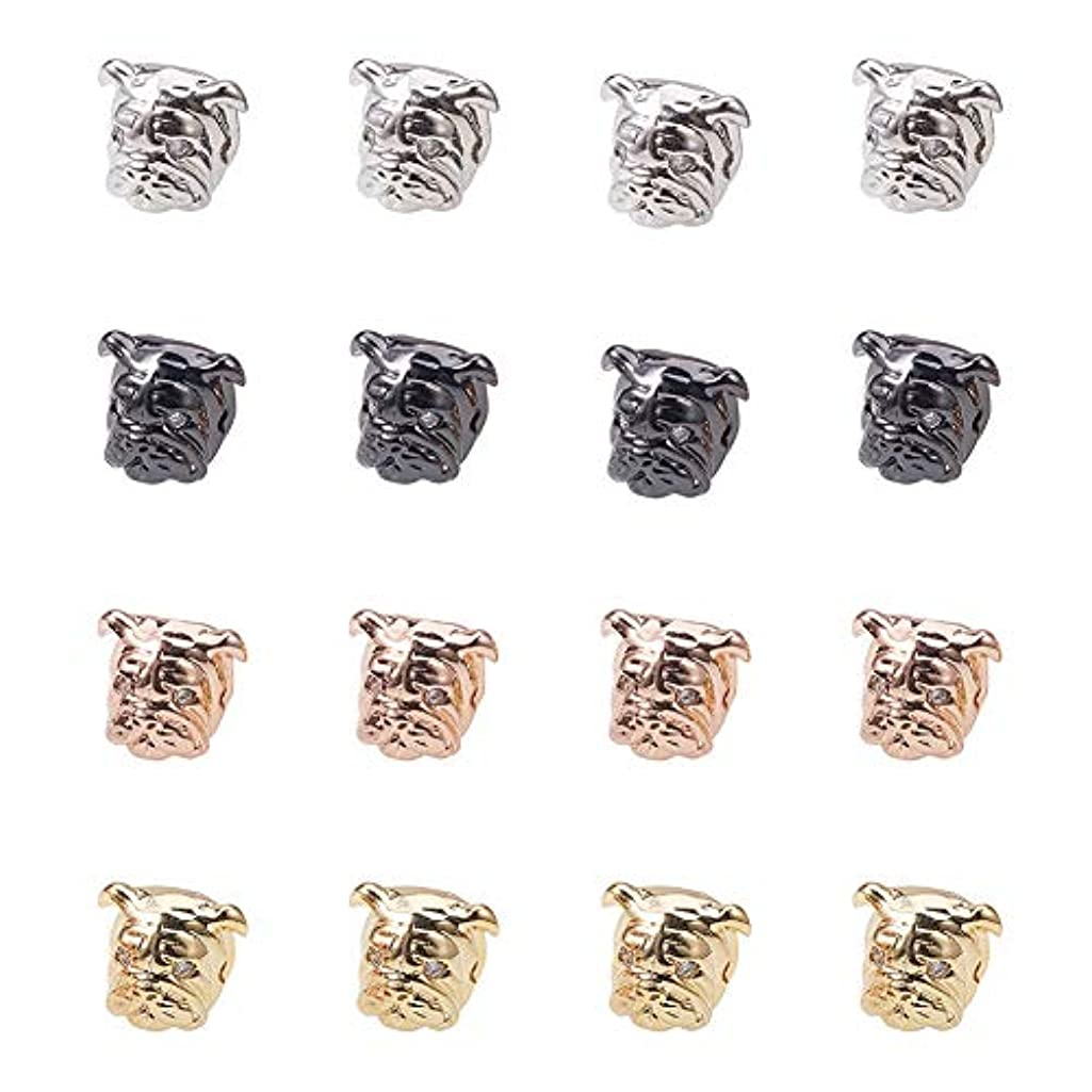PH PandaHall 20PCS Mixed Color Brass Micro Pave Cubic Zirconia Dog Beads for Men Original Bracelet DIY Jewelry Making