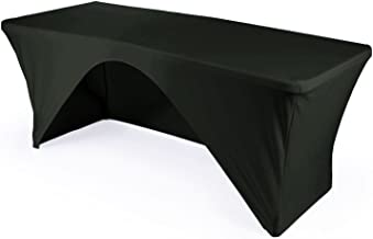LA Linen Open Back Spandex Tablecloth for a 8-Foot Rectangular Table, 96 by 30 by 30-Inch, Black