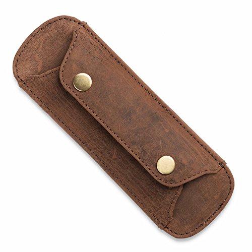 LEABAGS Premium Schulterpolster I Schulterpolster aus echtem Büffel-Leder I Vintage Look I Schulterriemen für Taschen I Leder Schulterpolster mit Antirutsch-Auflage I 18x6cm (Rouge)