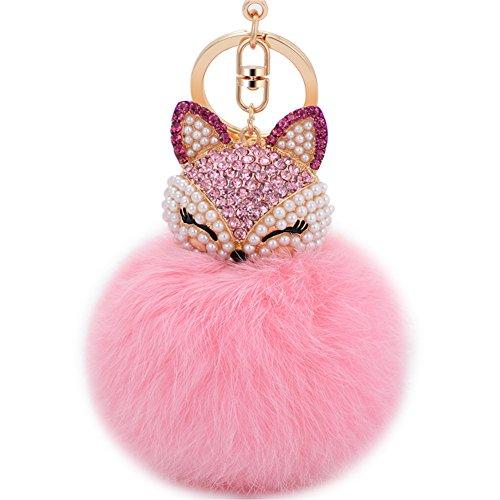 Boseen Genuine Rabbit Fur Ball Pom Pom Keychain with A fashion Alloy Fox Head Studded with Synthetic Diamonds(Rhinestone) for Womens Bag Cellphone Car Charm Pendant Decoration(Pink1)