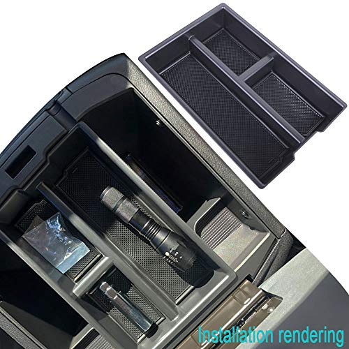 JDMCAR Compatible with 2009-2018 Dodge RAM 1500/2500 / 3500 Trucks Lower Center Console Organizer Insert ABS Black Materials Tray, Armrest Box Secondary Storage (Full Console w/Bucket Seats ONLY)