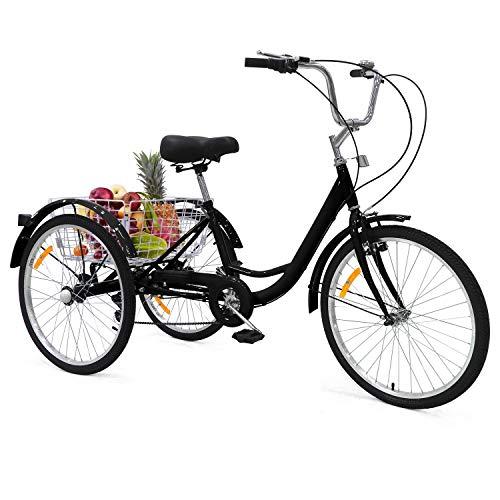 UFLIZOGH Triciclo para adultos con cesta, rueda de 24 pulgadas, marco de aleación, 3 ruedas, para adultos y personas mayores (negro)