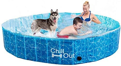 ALL FOR PAWS Piscina exterior extragrande para perros (160 x 30 cm), bañera plegable portátil para mascotas, antideslizante, aprobada por prueba UV, ideal para perros y niños