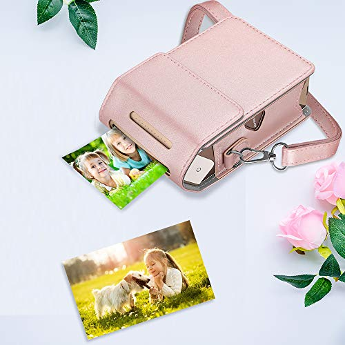 Fintie Protective Case for Fujifilm Instax Share SP-2 Smart Phone Printer - Premium Vegan Leather Bag Cover with Removable Shoulder Strap, Rose Gold