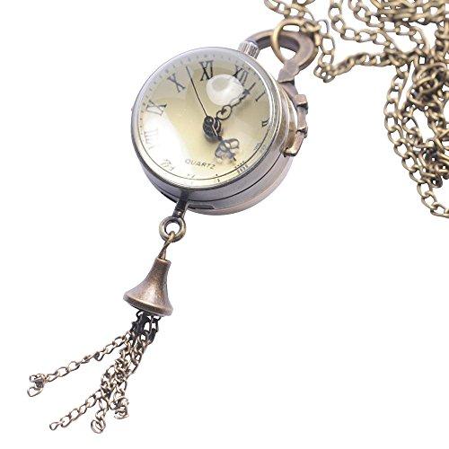 81stgeneration Women's Brass Sphere Steam Punk Vintage Orb Pocket Watch Pendant Necklace, 78 cm