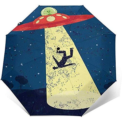 Automatischer dreifachgefalteter Regenschirm Alien Abduction of Human Printing Winddichter, kompakter, dreifachgefalteter Regenschirm mit automatischer Öffnung