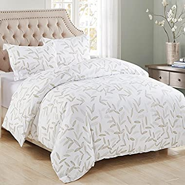 3 Piece Duvet Cover and Pillow Shams Bedding Sets, Comforter Quilt Sets Wrinkle Fade Stain Resistant Hypoallergenic Breathable Soft Microfiber Printed Leaf Design with Hidden Zipper and Tieback