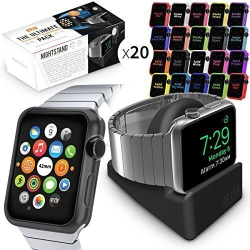 Orzly Ultimate Pack for Apple Watch (42 MM) - Gift Pack Includes Orzly Compact Stand & Multi-Pack of 20 Assorted Colour Orzly FacePlates