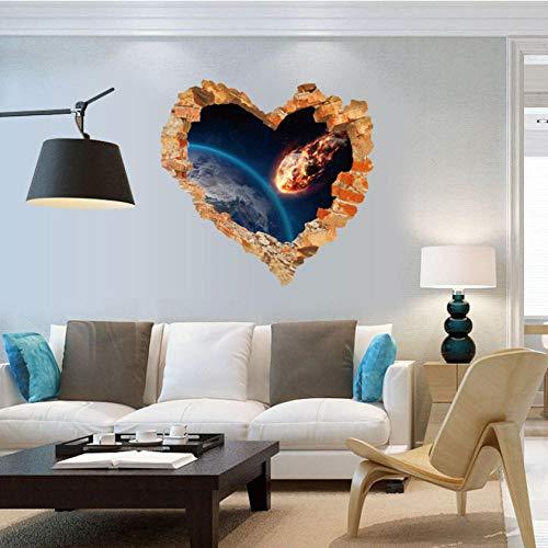 GVFTG liefde hart muur gebroken buitenruimte muur Stickers woonkamer slaapkamer huisdecoratie 3D-effect Meteorite hit de aarde60X60cm