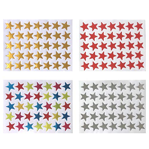 4200 Count Star Stickers Self-Adhesive Star Stickers Sliver Golden Assorted Colors Reward Star Stickers Labels for Teachers and Kids, 120 Sheet