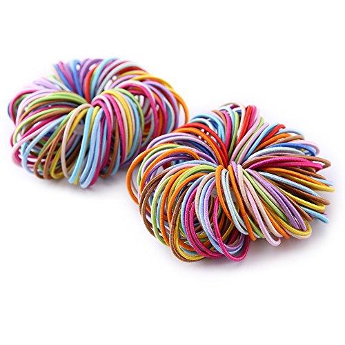 Munax Kids Elastic Hair Bands Elastic Hair Tie Assorted Colors Children Ponytail Holders, 2mm,3.5cm diameter 200 count