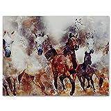 Cuadro moderno de arte abstracto, pintura contemporánea, listo para colgar para la decoración de la pared del hogar, decoración de la casa, caballos corriendo varios tamaños (sin marco) 30 x 49,8 cm