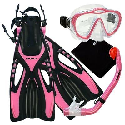 Promate 4570, pk, LXL, Junior Snorkeling Scuba Diving Mask Snorkel Fins w/Mesh Bag Set for Kids