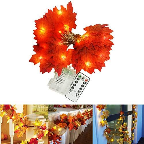 FunPa Herbst Dekoration, FunPa 5M 50 LED Ahornblätter Lichterkette Herbstgirlande Blättergirlande Herbst Ahornblatt Deko für Hochzeiten, Thanksgiving, Veranstaltungen und Außen Zuhause Herbstparty