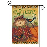 AVOIN colorlife Fall Pumpkin Welcome Garden Flag Vertical Double Sided, Scarecrow Crow Farmhouse Autumn Thanksgiving Flag Holiday Yard Outdoor Decoration 12.5 x 18 Inch