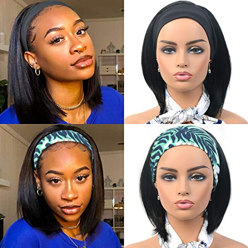 Eveelfs 12 Inch Straight Bob Headband Wigs for Black Women Natural Looking Glueless High Density wig with Black Headband Black Girl's Hair for Daily Party and Use(1b)