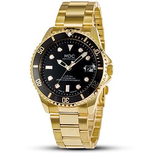 Gold Uhr Herren Armbanduhr Edelstahl Herrenuhr Metallarmband Schwarz Golduhr Analog Goldene Männer Uhren Herrenarmbanduhr Wasserdicht Watch for Men by MDC