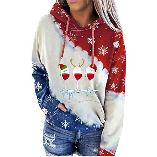 AILIEE Damen Weihnachtstag Pullover, Farbig Bedruckte Langärmelige Pullover Mit Kapuze Blockierten Ärmeln Für Frauen Lässiges Sweatshirt Herbst-/Winter Mode Bluse(#2 Weiß,M)