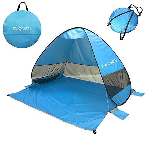 BaiYouDa Automatic Pop Up Instant Portable Outdoors Quick Cabana Beach Tent,Sets up in Seconds,2-3 Person Fishing Anti UV Beach Shelter with Carry Bag