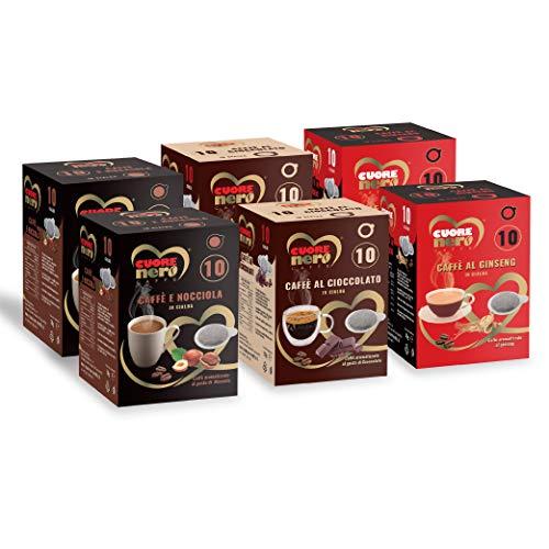Cuore Nero Caffè – Kit Degustazione 60 Cialde Filtro Carta ESE44 Caffè Aromatizzati al Ginseng, Nocciola, Cioccolato