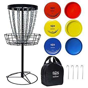Zdgao Disc Golf Basket Target - Pro 24 Chains Portable Metal Golf Goals Basket with 6 Discs and Carry Bag - Flying Discs Golf Baskets for Indoor & Outdoor Practice