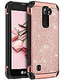 BENTOBEN Case for LG K7 LG Treasure LTE/LG K8 2016, Phone Case for LG Tribute 5 / LG Escape 3 / LG Phoenix 2 / LG K373 / Luxury Glitter Bling Hybrid Chrome Shockproof Protective Case, Rose Gold