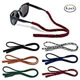 Glasses Strap (Pack of 6) with Glasses Cleaning Cloth for Men Women Sunglasses Sports Eyewear Strap Glasses Retainer Adjustable Fit 6 Colors