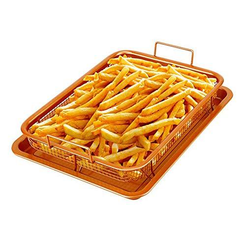 AWYGHJ Crisper Tray, Cookie Tray und Mesh Antihaft Basket, Backblech Air Crisper Pan, mit heißer Luft knusprig, Speck ohne Öl oder Fett braten, für Hühnchen, Pommes Frites
