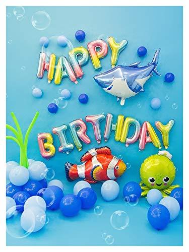 JSJJAUA balloon Ocean Animal Balloon Garland Blue Sea Princess Mermaid Ballon Baby Girl 1st Birthday Party Balloons Kids Blue Ballon (Color : Set A)