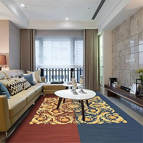 WCCCW Patrón de Costuras de Color simétrico, Textura Suave, Antideslizante, fácil de Limpiar, Sala de Estudio, Mesa de Centro, Alfombra de decoración de oficina-80x120cm para el salón fácil de Limpia