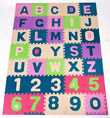 SunLife - Tappeto Puzzle con Bordini | Numeri e Lettere in Morbida Schiuma EVA Morbido | Bambini e Neonati per Gioco e Gattonamento/Testato e Certificato